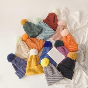 New Autumn Winter Baby Kids Knitted Hat Candy Color Caps Beanies Rabbit Fur Ball Girls Children Cap Warm Hats