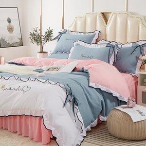Juego de ropa de cama Bordkknot del bordado de estilo princesa Color mezclado Cuatro Pedes M39