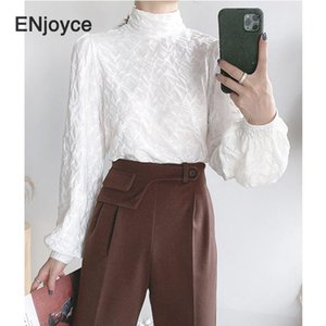 France Style Vintage Turtleneck Solid Shirt Women 2020 Autumn Fashion New Style All match Stand Collar Lantern Sleeve Blouse