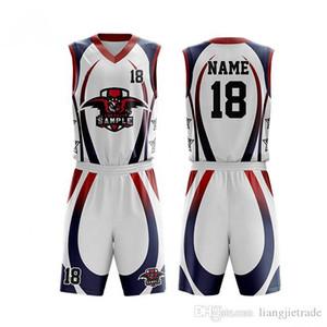 Custom Print Men Basketball Jerseys Suit for Boys College Basketball Uniform 2019 Sport Kit Shirts Shorts Set