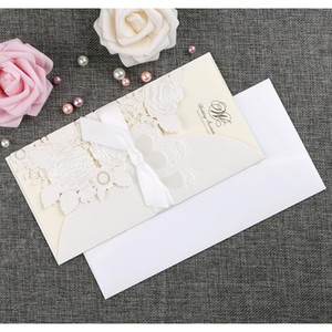 New 4pcs Set Gold Laser Cut Wedding Invitation Card Rose Love Heart Greeting Cards Customize Envelopes With wmtkhb homes2011