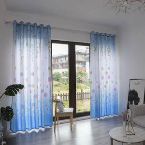 Elegant Dandelion Leaves Floral Printing Sheer Curtain Delicate Tulle Window Treatment Voile Drape Valance Fiber 270x100cm 1PC