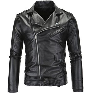 Men Slim Motorcycle Faux Leather Jackets high quality Waterproof Casual Oblique zipper PU Leather biker Jacket Plus Size 4XL