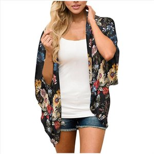 WomenS Cardigan 3 4 Sleeve Flower Print Blouse Kimono Cardigan Top Colorful Short Casual Summer YL10
