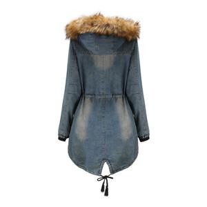 New Womens jacket fur denim blue jeans hooded cheap women coat winter warmth 100% cotton size s-xxl