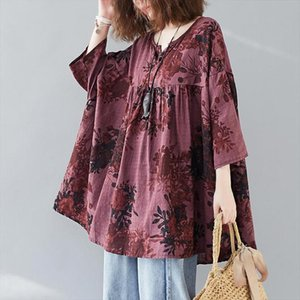 Johnature Loose Plus Size V neck Batwing Sleeve All match Pullover Print Shirt 2020 Autumn New Korean Simple Fashion Women Tops