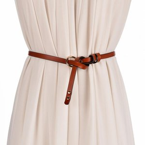 Fashion vintage 1cm brown fine Womens   Ladies Slim Leather Belt Korean style with bow pin buckle for dress jeans