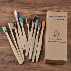 Nouveau design Couleur mélangée Bamboo Brosse à dents Eco conviendée à la brosse à dents en bois Soft Bristle Soft Bracelet Charcoal Adultes Dessus Oral Care Dents Brosse à dents