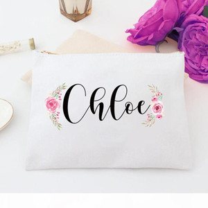 Personalized Fall Floral Cosmetic Bag Wedding Bags Custom Name Makeup Bag, Bridal Custom Case Personalized Toiletry bag