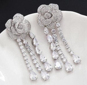 S925 Silver Rose Earrings with Crystal Fashion Women Jewelry Drop Designer Tassel Dangle Earrings with CZ Diamond Top Quality
