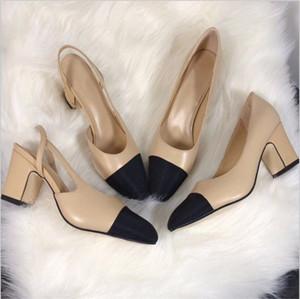 Heißer Verkauf-High Heels Patchwork Split Farbe Damen Mode Schuhe Echtes Leder offen auf formellen klobigen Fersen Slingbacks Sandalen
