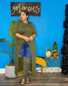 Tops Designer Female Autumn Plus Size Women Clothing Womens Designer Luxury T-shirts Fashion Long Sleeve Crew Neck Hollow Out Split