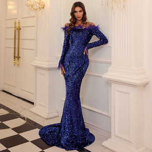 Sexy Off Shoulder Sequin Evening Dresses Women Feather Solid Color Evening Party Dress Maxi Dress Vestdios 011906