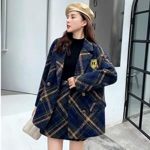 2020 зимняя теплая шерсть твид двух частей набор женщин утолщенные клетки блейзер куртка пальто + a-line юбка костюмы осени кашемировые наряды