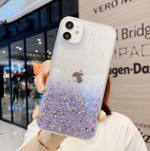Glitter Powder Star Clear Phone Case For iPhone 12 Mini 11 Pro Max XR X XS 8 Plus Case Soft Epoxy Back Cover