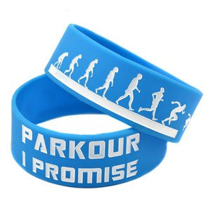 1PC Motivation Parkour I Promised 1 Inch Wide Silicone Rubber Wristband For Sport Fitness Fans Gift