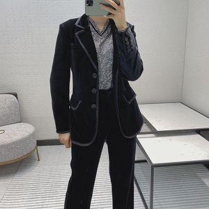 Autumn High Quality Women Velvet Jacket Blazer With Casual Long Trouse Female Pants Suits Tclai