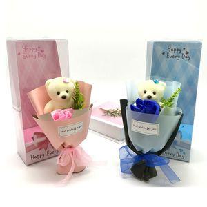 Soltero color puro flor de rosa multicolor lindo oso flores de jabón con regalos caja de boda Ceremonia de boda Día de San Valentín Regalo nuevo patrón 5QQ J2