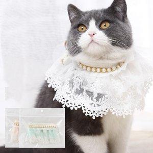 Gato Cão Colar Colar Strass Cachorrinho Cachorro Pet Products Dog Supplies Pet Charme Perolado Lace Pet Cachecol Cat Acessório YHM241