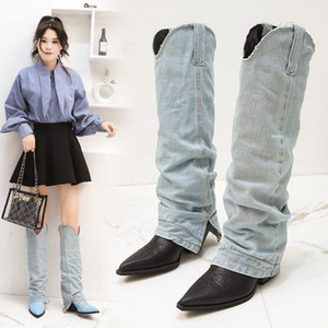 Sexy Jean Boots Women's Mid Calf Boot Zipper High Heel Woman Stylish Jeans Boots Ladies Denim Boot Female Shoes Cowboy