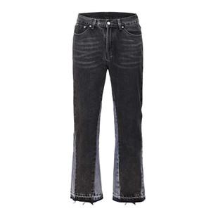 Patchwork Flare Jeans Men Streetwear Wide Leg Denim Pant Hip Hop Colorblock Slim Fit Denim Jeans for Men