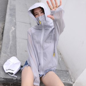 2019 Spring Summer New Sun Protection Clothing Female Short Thin Coat Long Sleeve Hooded Large Size Air Conditioning Shirt LQ731