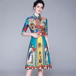 Quality Fashion Designer Runway Dress 2019 Summer Womens Short Sleeve Elegant Floral Print Bow Casual Dress plaid