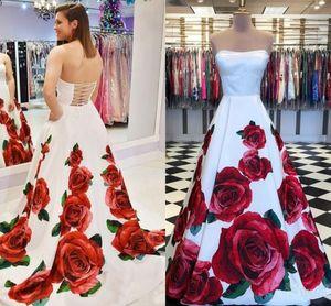 Charming A Line White Prom Dresses With Rose Print Pageant Evening Dress For Women Party Graduation Robe De Soirée De Mariage