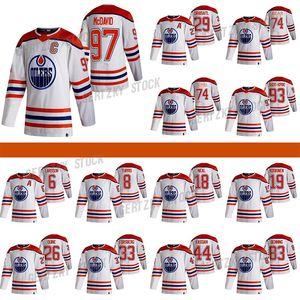 Edmonton Oilers 2020-21 Retro Retro Jersey 97 Connor McDavid 29 Leon Draisaitl 74 LNB 74 Ethan Bear 93 Ryan Nugent-Hopkins Hockey Jerseys