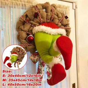 12 14 16inch Christmas Jolly Wreath Christmas Thief Burlap Garland Wired Wreath Frame Jute Rope Holiday Indoor Home Decor