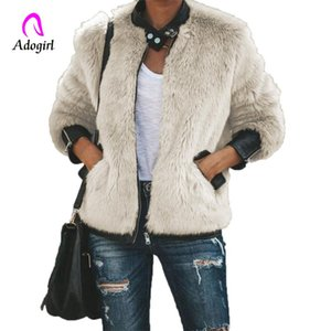 Adogirl Elegant Faux Fur Coat Women 2020 Fall Winter Warm Soft Zipper Fur Jacket Female Fashion Dark Apricot Furry Overcoat