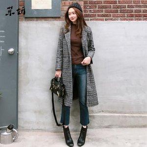 Spring 2020 Autumn Women's Wool Plaid Coat New Fashion Long Windbreaker Slim Type Female Winter Wool Jackets Female Outw1