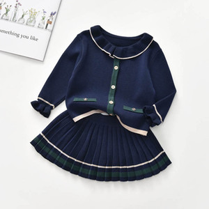 INS fashion sweater girls suits princess knitting sweater+Pleated skirts 2pcs set girls outfits kids dress suits kids clothing B3432