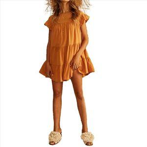 New Fashion Women Ladies Summer Casual Boho Dress Pleated Short Sleeves Party Dress Sundress Drop Shipping