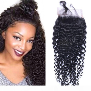 Indian Kinky Curly Human Hair 4x4 Lace Closure Natural Color Closure with Baby Hair Swiss Lace