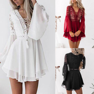 Fashion-Women Lace Bodycon Cocktail Party hot Dress Female Bandage Dresses Ladies Sexy Party Long Sleeve Dress vestidos mujer verano 200928