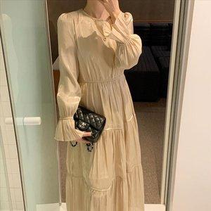 Women Korean Vintage Long Dress Long Sleeve O neck High Waist Loose Draped Ruffle Trim Plus Size Sukienki Ropa Mujer Party