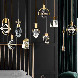 2021 Nordic Tutti Pendenti in cristallo in rame per lampadari Creative LED Sala da pranzo camera da letto decorativa lampada a sospensione