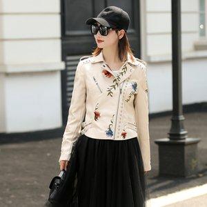 LY Varey Lin Femmes Faux Cuir Jacket Broderie Moto Noir Punk Veste Manteau Rivet Zipper Femme Faux Veste Outerwear 201016