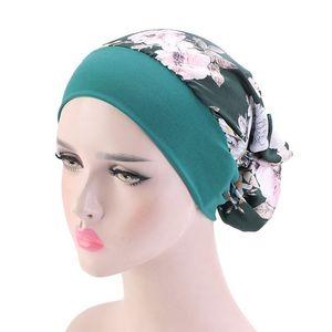 Women Muslim Hijab Hair Styling Cap Chemo Flower Print Hat Turban Cap Pre-Tied Cover Head Scarf Wrap Headwear Hair Styling Tool