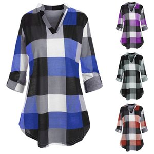Harajuku Woman Tshirts Plus Size Roll Up Sleeve V-Neck Checked Plaid Printed Tops Graphic Tee T Shirt For Women A1112