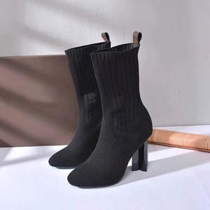 Neue Frühling Herbstgestrickte elastische Stiefel Buchstaben Dicke Heels Sexy Frau Schuhe High Heel Boots Mode Socken Stiefel Dame High Heels Größe 35-42