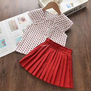 Summer kids love heart outfits girls lapel heart printed shirts+pleated skirt 2pcs Valentine's Day children sets A5685