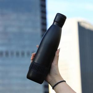 17 OZ Cola Форма из нержавеющей стали Изолированная чашка с двойной стеной вакуумная колба с беспроводным динамиком Bluetooth термальная умная бутылка для воды