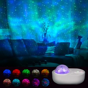 The Spaceship Star Night Light Projector LED Projection Lamp For Kids Bedroom Home Party Decor White Noise Bluetooth Speaker
