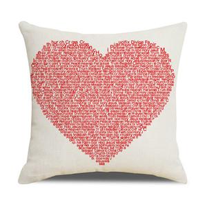 Dia dos Namorados Caso de Linho Linen Love Home Lance Almofadas Soft Decorative Almofada Capa Para Sofá Cadeira Travesseiro Coberturas CCE4280