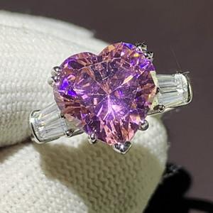 Victoria Ins Heißer Verkauf Einzigartige Luxus Schmuck 925 Sterling Silber Herzform Rosa Saphir CZ Diamant Edelsteine Frauen Hochzeit Band Ring Geschenk