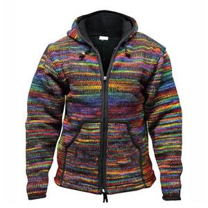 Laamei Cardigan Striped Sweaters Autumn Hoodies Jacket Men ZIipper Knitted Vintage Knitwear Coat