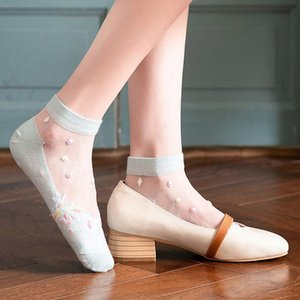 Hyrax Trends Creative Harajuku New Product Crystal Silk Tide Socks Funny Flowers Happy Women Socks Casual High Quality