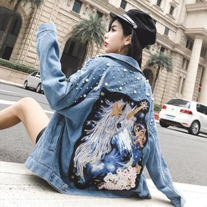 Unicorn Denim Jacket Punctured Pearl Patch Jacket By Jeans Delle Donne Buco Strappo Paillettes Long Sleeve Jean Cappotto Autumn